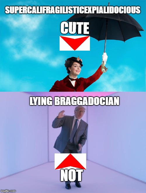 Trump not cute | SUPERCALIFRAGILISTICEXPIALIDOCIOUS LYING BRAGGADOCIAN CUTE NOT | image tagged in funny,politics,dictionary,bragging,lying,political meme | made w/ Imgflip meme maker