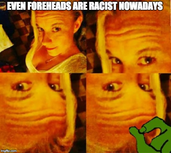 EVEN FOREHEADS ARE RACIST NOWADAYS | image tagged in pepe,forehead | made w/ Imgflip meme maker