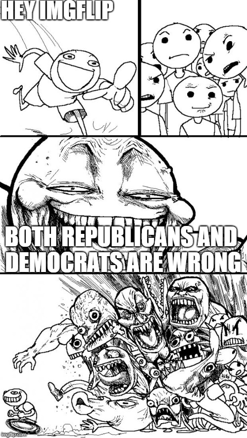 Hey Internet | HEY IMGFLIP BOTH REPUBLICANS AND DEMOCRATS ARE WRONG | image tagged in memes,hey internet,democrats,republicans,democrat party,republican | made w/ Imgflip meme maker