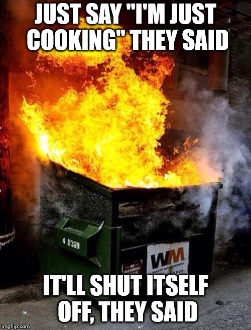 "JUST SAY ""I'M JUST COOKING"" THEY SAID IT'LL SHUT ITSELF OFF, THEY SAID 