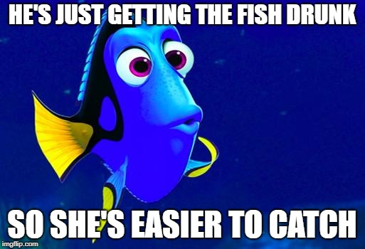 Bad Memory Fish | HE'S JUST GETTING THE FISH DRUNK SO SHE'S EASIER TO CATCH | image tagged in bad memory fish | made w/ Imgflip meme maker