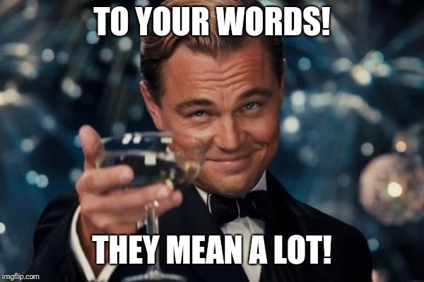 Leonardo Dicaprio Cheers Meme | TO YOUR WORDS! THEY MEAN A LOT! | image tagged in memes,leonardo dicaprio cheers | made w/ Imgflip meme maker