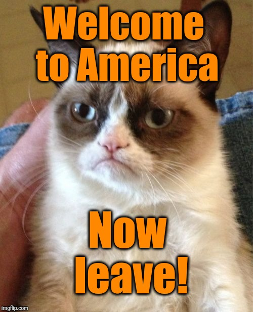 Grumpy Cat Meme | Welcome to America Now leave! | image tagged in memes,grumpy cat | made w/ Imgflip meme maker