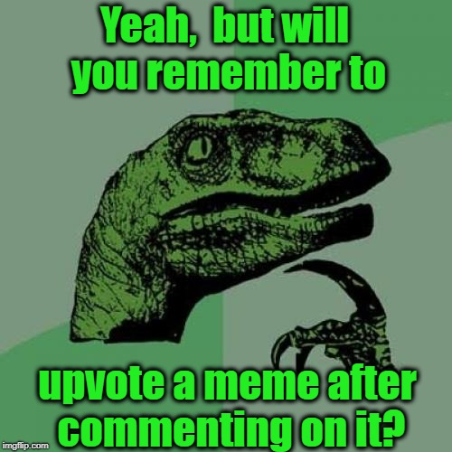 Philosoraptor Meme | Yeah,  but will you remember to upvote a meme after commenting on it? | image tagged in memes,philosoraptor | made w/ Imgflip meme maker