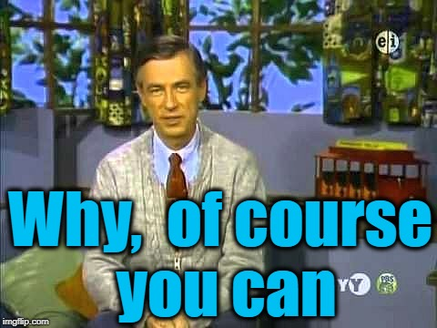 Mr Rogers | Why,  of course you can | image tagged in mr rogers | made w/ Imgflip meme maker
