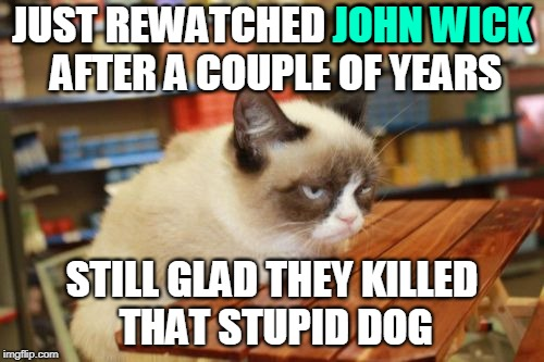 Pass the Popcorn, Please |  JOHN WICK; JUST REWATCHED JOHN WICK AFTER A COUPLE OF YEARS; STILL GLAD THEY KILLED THAT STUPID DOG | image tagged in memes,grumpy cat table,grumpy cat,movies,rewatched,keanu reeves | made w/ Imgflip meme maker
