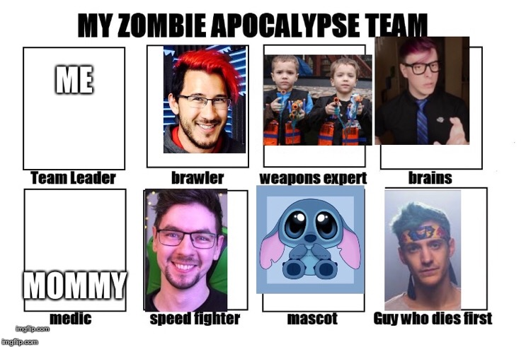 image tagged in markiplier,ninja,jacksepticeye,twins,mommy,zombie | made w/ Imgflip meme maker