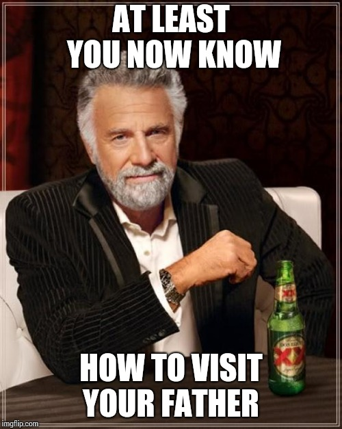 The Most Interesting Man In The World Meme | AT LEAST YOU NOW KNOW HOW TO VISIT YOUR FATHER | image tagged in memes,the most interesting man in the world | made w/ Imgflip meme maker