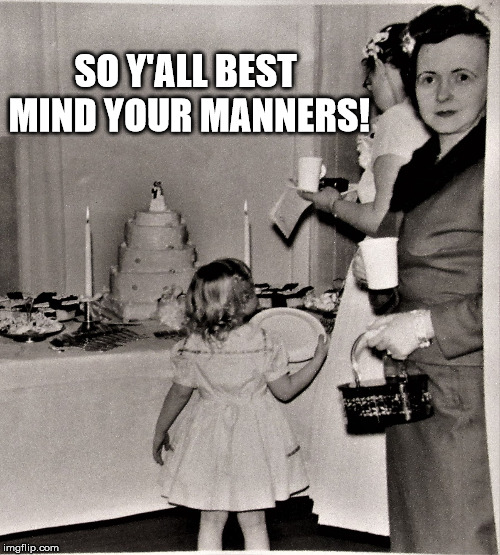 Judgemental Wedding Guest | SO Y'ALL BEST MIND YOUR MANNERS! | image tagged in judgemental wedding guest | made w/ Imgflip meme maker
