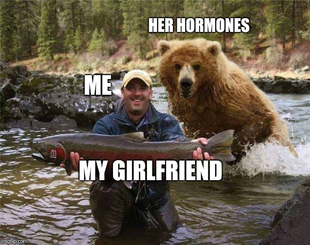 You title it | ME HER HORMONES MY GIRLFRIEND | image tagged in memes | made w/ Imgflip meme maker