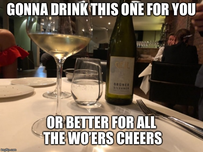 GONNA DRINK THIS ONE FOR YOU OR BETTER FOR ALL THE WO'ERS CHEERS | made w/ Imgflip meme maker