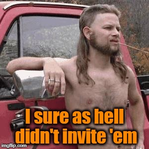 HillBilly | I sure as hell didn't invite 'em | image tagged in hillbilly | made w/ Imgflip meme maker