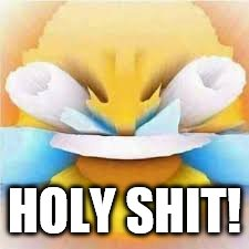 Laughing crying emoji with open eyes  | HOLY SHIT! | image tagged in laughing crying emoji with open eyes | made w/ Imgflip meme maker