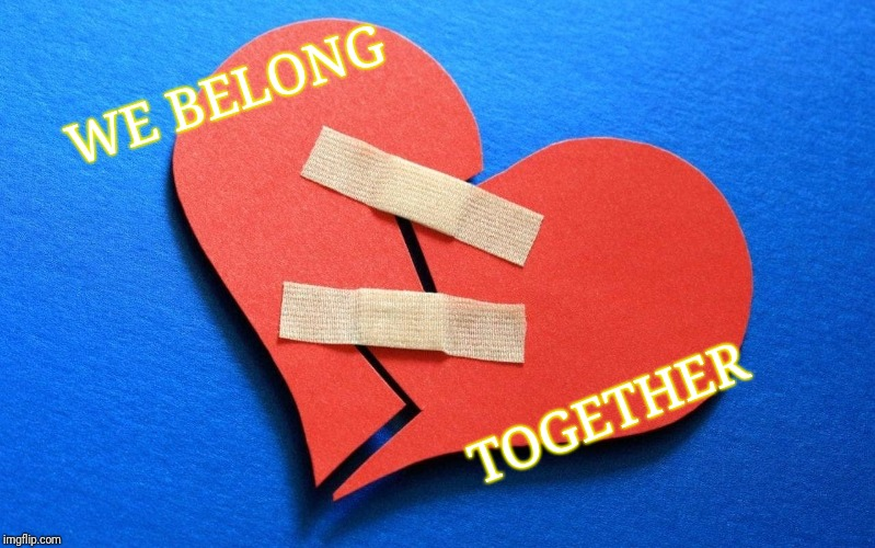 WE BELONG TOGETHER | image tagged in broken heart | made w/ Imgflip meme maker