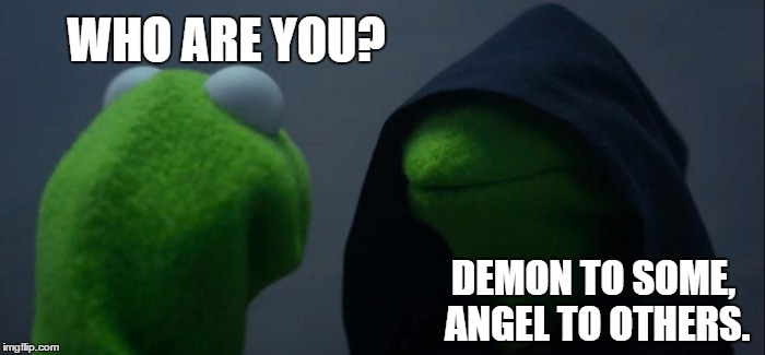 Evil Kermit | WHO ARE YOU? DEMON TO SOME, ANGEL TO OTHERS. | image tagged in memes,evil kermit,demon,angel | made w/ Imgflip meme maker