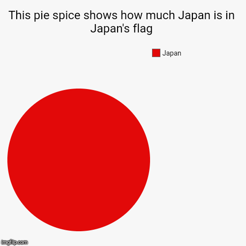Japan Fact | This pie spice shows how much Japan is in Japan's flag | Japan | image tagged in funny,pie charts | made w/ Imgflip pie chart maker