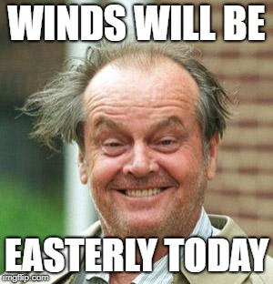 WINDS WILL BE EASTERLY TODAY | image tagged in jack nicholson crazy hair | made w/ Imgflip meme maker