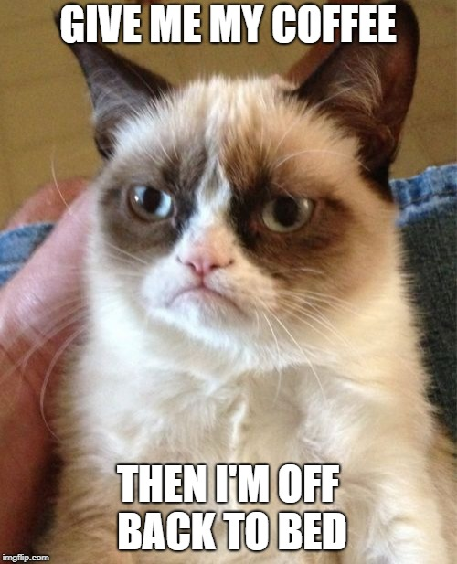 Grumpy Cat Meme | GIVE ME MY COFFEE THEN I'M OFF BACK TO BED | image tagged in memes,grumpy cat | made w/ Imgflip meme maker