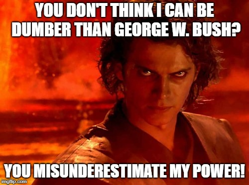 You Underestimate My Power | YOU DON'T THINK I CAN BE DUMBER THAN GEORGE W. BUSH? YOU MISUNDERESTIMATE MY POWER! | image tagged in memes,you underestimate my power,george w bush,bush,misunderestimate | made w/ Imgflip meme maker