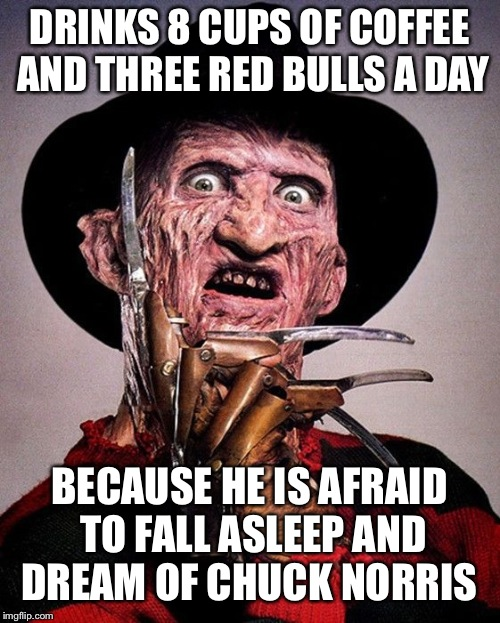 Freddy Kruger  | DRINKS 8 CUPS OF COFFEE AND THREE RED BULLS A DAY BECAUSE HE IS AFRAID TO FALL ASLEEP AND DREAM OF CHUCK NORRIS | image tagged in freddy kruger | made w/ Imgflip meme maker