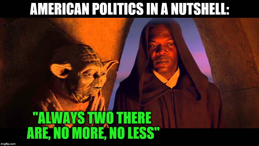 "AMERICAN POLITICS IN A NUTSHELL:; ""ALWAYS TWO THERE ARE, NO MORE, NO LESS"" 