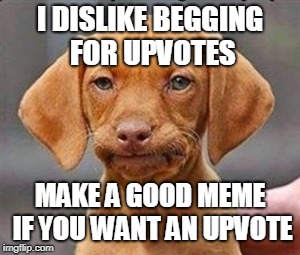 Frustrated dog | I DISLIKE BEGGING FOR UPVOTES MAKE A GOOD MEME IF YOU WANT AN UPVOTE | image tagged in frustrated dog | made w/ Imgflip meme maker