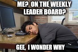 ME?  ON THE WEEKLY LEADER BOARD? GEE,  I WONDER WHY | made w/ Imgflip meme maker