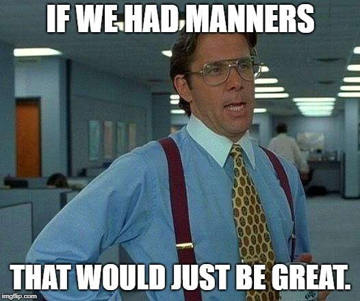 That Would Be Great Meme | IF WE HAD MANNERS THAT WOULD JUST BE GREAT. | image tagged in memes,that would be great | made w/ Imgflip meme maker