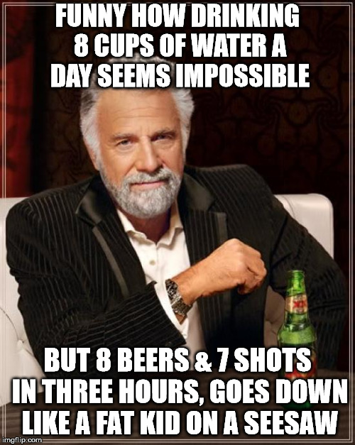 Now ain't that the truth? |  FUNNY HOW DRINKING 8 CUPS OF WATER A DAY SEEMS IMPOSSIBLE; BUT 8 BEERS & 7 SHOTS IN THREE HOURS, GOES DOWN LIKE A FAT KID ON A SEESAW | image tagged in memes,the most interesting man in the world | made w/ Imgflip meme maker