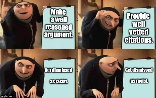 intellectual debate | Make a well reasoned argument. Provide well vetted citations. Get dismissed as racist. Get dismissed as racist. | image tagged in gru's plan,scream racist | made w/ Imgflip meme maker