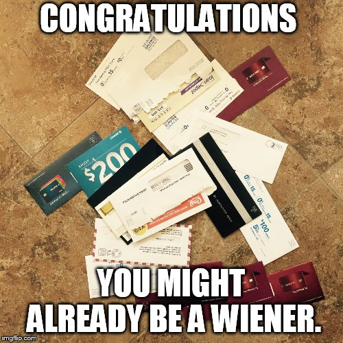 CONGRATULATIONS YOU MIGHT ALREADY BE A WIENER. | image tagged in junk mail | made w/ Imgflip meme maker