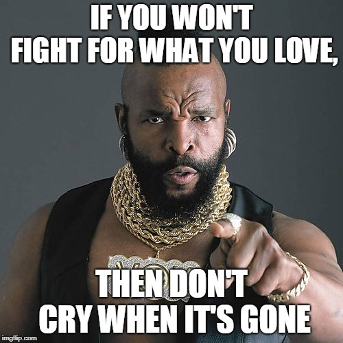 Mr T Pity The Fool |  IF YOU WON'T FIGHT FOR WHAT YOU LOVE, THEN DON'T CRY WHEN IT'S GONE | image tagged in memes,mr t pity the fool | made w/ Imgflip meme maker