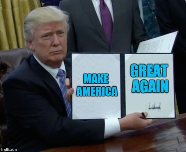 Trump Bill Signing Meme | MAKE AMERICA GREAT AGAIN | image tagged in memes,trump bill signing | made w/ Imgflip meme maker