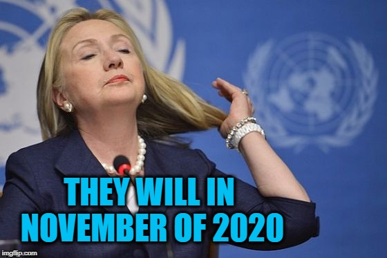 Hillary | THEY WILL IN NOVEMBER OF 2020 | image tagged in hillary | made w/ Imgflip meme maker