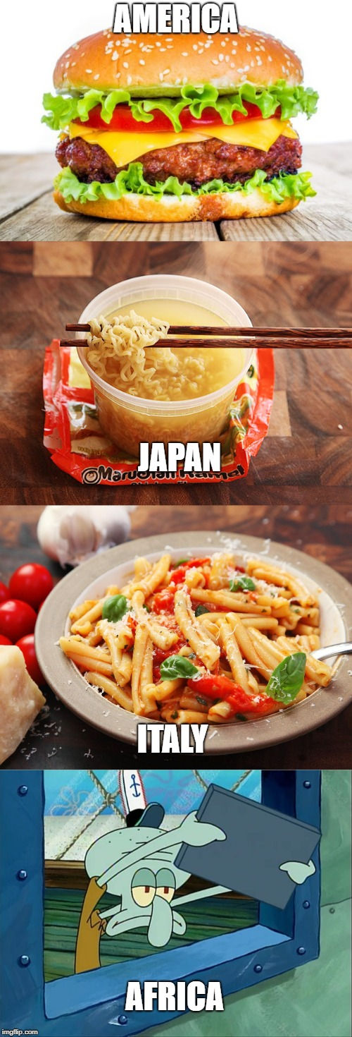 Food round the world | AMERICA JAPAN ITALY AFRICA | image tagged in honest,africa,food | made w/ Imgflip meme maker