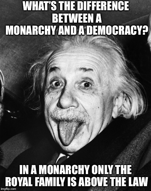 Einstein | WHAT'S THE DIFFERENCE BETWEEN A MONARCHY AND A DEMOCRACY? IN A MONARCHY ONLY THE ROYAL FAMILY IS ABOVE THE LAW | image tagged in einstein,so true,memes | made w/ Imgflip meme maker