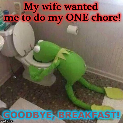 Kermit | My wife wanted me to do my ONE chore! GOODBYE, BREAKFAST! | image tagged in kermit | made w/ Imgflip meme maker