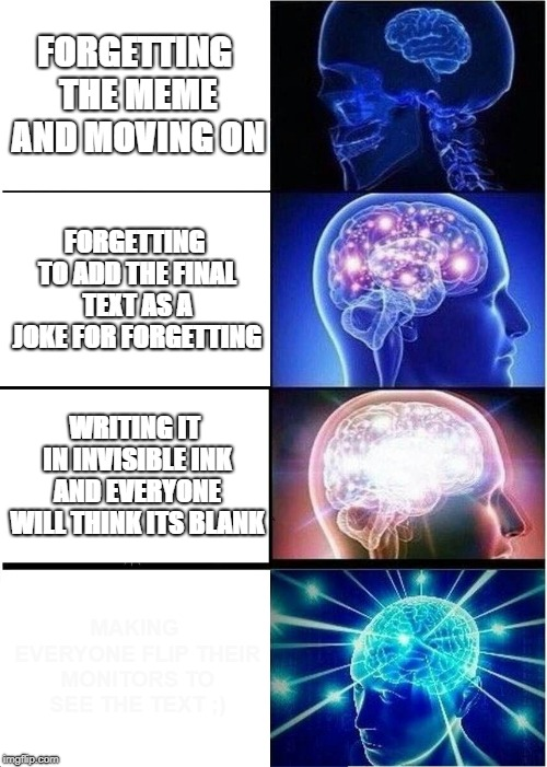 Trust me there is something there ;) | FORGETTING THE MEME AND MOVING ON FORGETTING TO ADD THE FINAL TEXT AS A JOKE FOR FORGETTING WRITING IT IN INVISIBLE INK AND EVERYONE WILL TH | image tagged in memes,expanding brain,forgetting,invisible | made w/ Imgflip meme maker