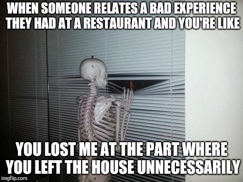Social anxiety skeleton | WHEN SOMEONE RELATES A BAD EXPERIENCE THEY HAD AT A RESTAURANT AND YOU'RE LIKE YOU LOST ME AT THE PART WHERE YOU LEFT THE HOUSE UNNECESSARIL | image tagged in skeleton looking out window | made w/ Imgflip meme maker