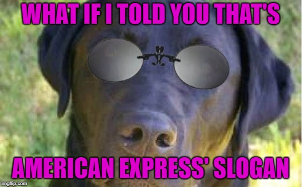 WHAT IF I TOLD YOU THAT'S AMERICAN EXPRESS' SLOGAN | made w/ Imgflip meme maker