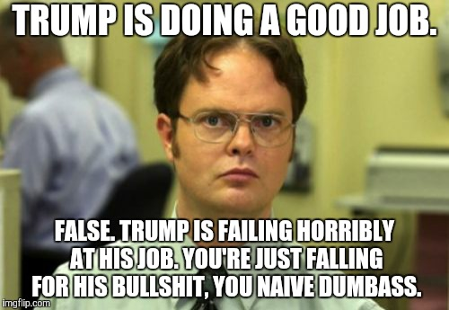 False |  TRUMP IS DOING A GOOD JOB. FALSE. TRUMP IS FAILING HORRIBLY AT HIS JOB. YOU'RE JUST FALLING FOR HIS BULLSHIT, YOU NAIVE DUMBASS. | image tagged in false,memes,donald trump,trump,donald trump is an idiot,dumbass | made w/ Imgflip meme maker