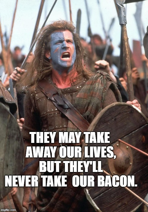 Baconheart | THEY MAY TAKE AWAY OUR LIVES, BUT THEY'LL NEVER TAKE  OUR BACON. | image tagged in vegan,braveheart | made w/ Imgflip meme maker