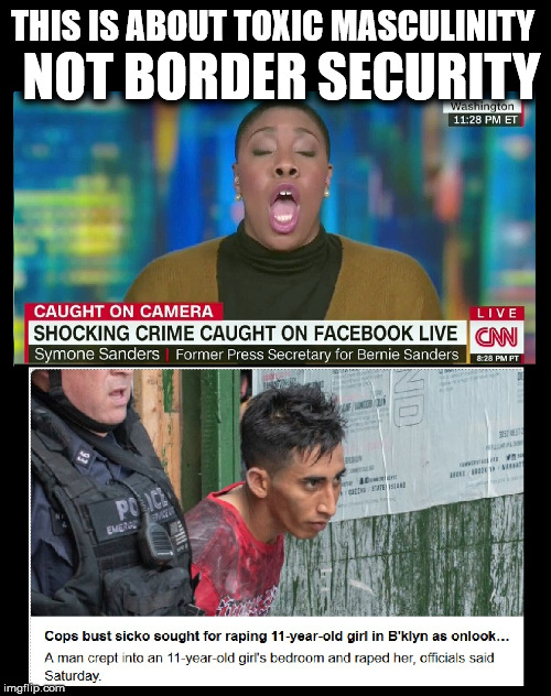 THIS IS ABOUT TOXIC MASCULINITY; NOT BORDER SECURITY | image tagged in cnn sucks,cnn fake news,illegal immigration,trump 2020,build a wall | made w/ Imgflip meme maker