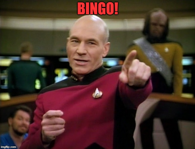 Captain Picard pointing | BINGO! | image tagged in captain picard pointing | made w/ Imgflip meme maker