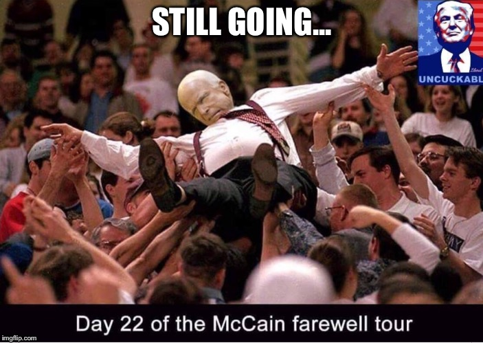 This guy can teach the Energizer Bunny a thing or two! | STILL GOING... | image tagged in mccain funeral,too long,energizer bunny,stop it already,john mccain | made w/ Imgflip meme maker
