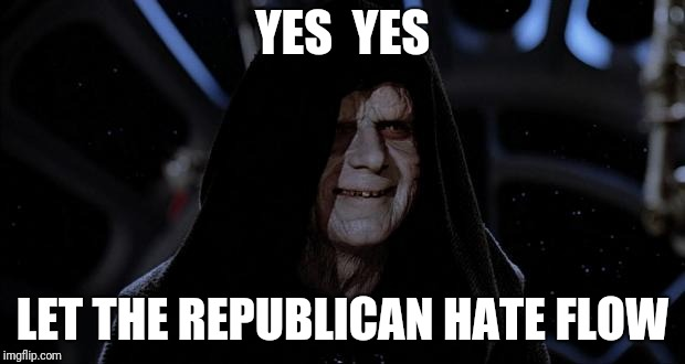 Let the hate flow through you | YES  YES LET THE REPUBLICAN HATE FLOW | image tagged in let the hate flow through you | made w/ Imgflip meme maker