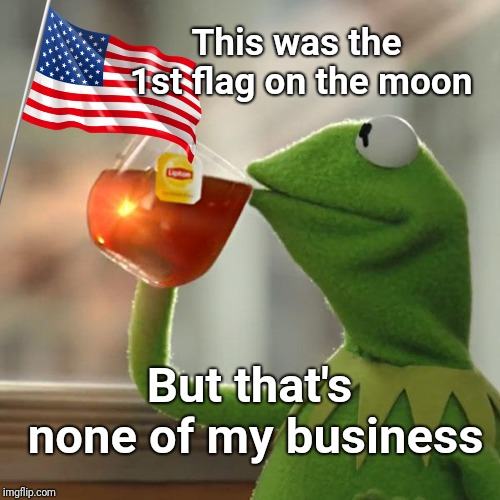 1st Flag on the Moon | This was the 1st flag on the moon But that's none of my business | image tagged in memes,but thats none of my business,kermit the frog,buzz aldrin,justjeff,moon | made w/ Imgflip meme maker