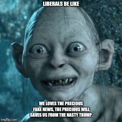 Gollum Meme | LIBERALS BE LIKE WE LOVES THE PRECIOUS FAKE NEWS, THE PRECIOUS WILL SAVES US FROM THE NASTY TRUMP. | image tagged in memes,gollum | made w/ Imgflip meme maker