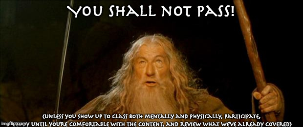 gandalf you shall not pass |  You Shall not pass! (unless you show up to class both mentally and physically, participate, study until you're comfortable with the content, and review what we've already covered) | image tagged in gandalf you shall not pass | made w/ Imgflip meme maker