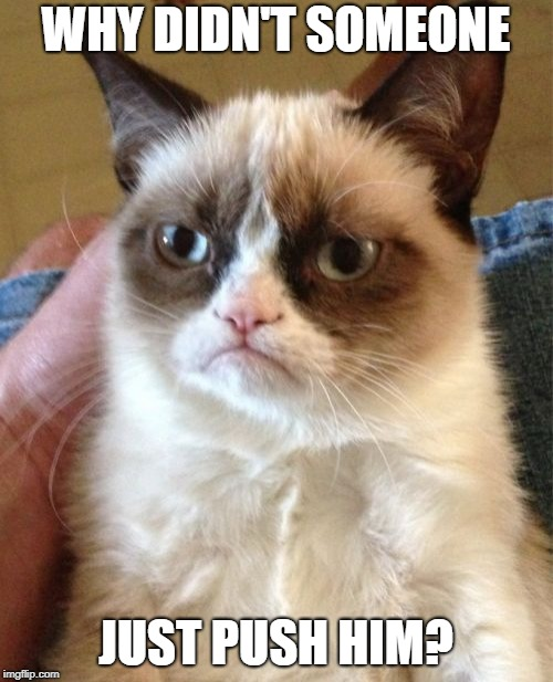 Grumpy Cat Meme | WHY DIDN'T SOMEONE JUST PUSH HIM? | image tagged in memes,grumpy cat | made w/ Imgflip meme maker